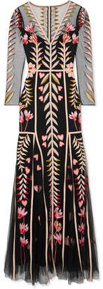 Temperley London Rosy Embroidered Tulle Maxi Dress - Black