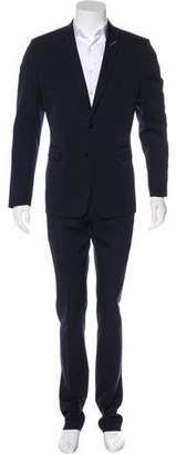 Christian Dior Leather-Accented Virgin Wool Suit