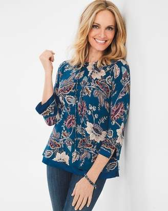 Chico's Floral Woven-Trim Pullover