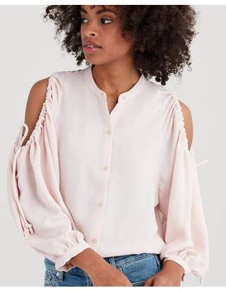7 For All Mankind Cold Shoulder Tie Top In Pink Sunrise
