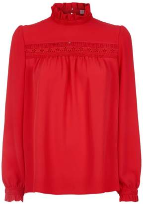 Claudie Pierlot Lace Trim Crepe Blouse