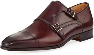 Magnanni Hand-Antiqued Calfskin Monk-Strap Loafer