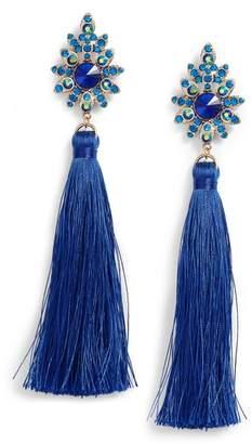 Tasha Beaded Post Tassel Drop Earrings