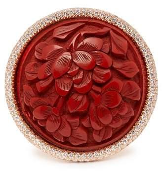 Francesca Villa Lanterne Rosse 18kt Gold And Diamond Pave Ring - Womens - Red