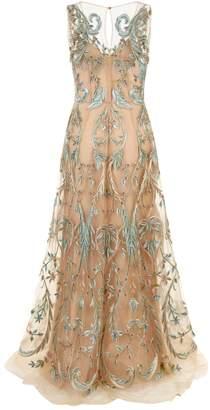 Alberta Ferretti Bead Embellished Floral Gown