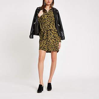 River Island Khaki leopard print twist front shirt dress
