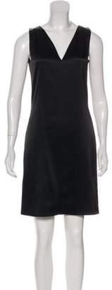 Balenciaga V-Neck Satin Dress Black V-Neck Satin Dress