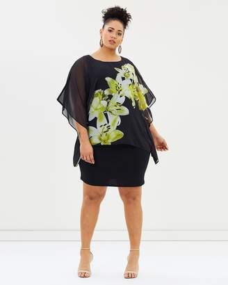 Evans Floral Overlay Dress
