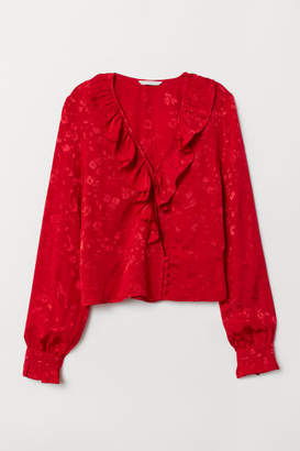 H&M Jacquard-weave Flounced Blouse - Red