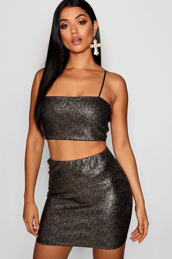 boohoo Sparkle Crop Top And Mini Skirt