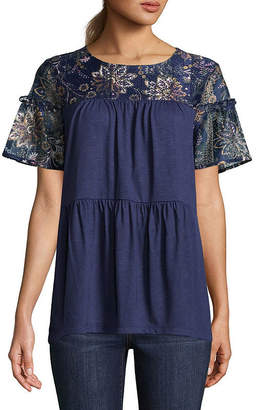 ST. JOHN'S BAY Short Sleeve Lace Tiered Top - Tall