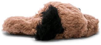 ARIANA BOHLING Criss Cross Color Block Fur Slipper