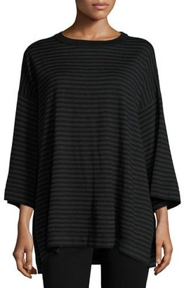 Eileen Fisher Striped Merino Top, Charcoal/Black $248 thestylecure.com