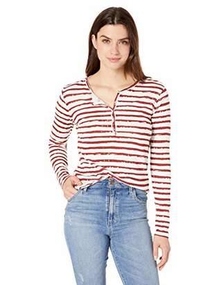 Majestic Filatures Women's Cotton/Cashmere Stripe Long Sleeve Henley,1