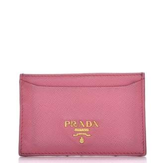 Prada Metal Card Case Wallet Saffiano Pink