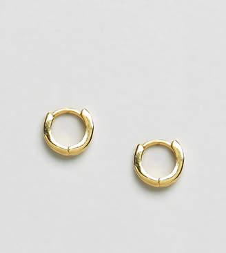 Asos DESIGN gold plated sterling silver huggie hinged hoop earrings
