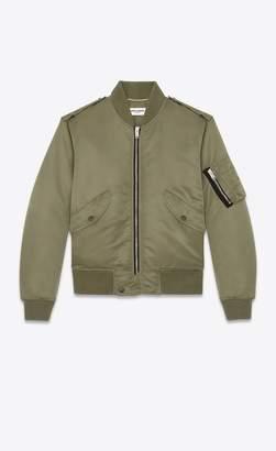 Saint Laurent Bomber Jacket In Khaki Nylon