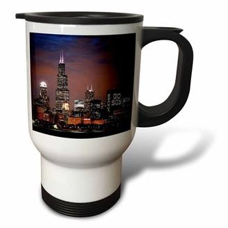 3dRose Chicago Skyline at Night, Travel Mug, 14oz, Stainless Steel