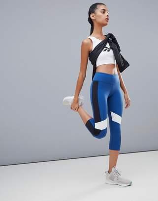 Reebok Training Color Block Capri Leggings In Blue