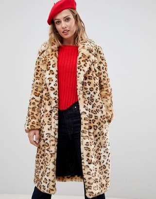 Urban Code Urbancode leopard longline faux fur coat