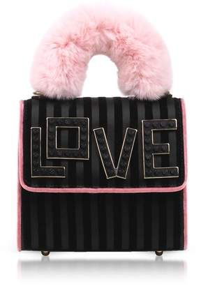 Les Petits Joueurs Baby Alex Black Widow Fur Handle Satchel Bag