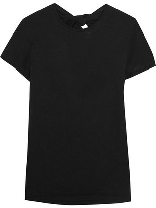 Proenza Schouler - Tie-back Cotton-jersey T-shirt - Black $310 thestylecure.com