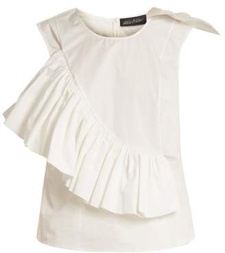 Anna October - Crew Neck Ruffle Trimmed Sleeveless Cotton Top - Womens - White