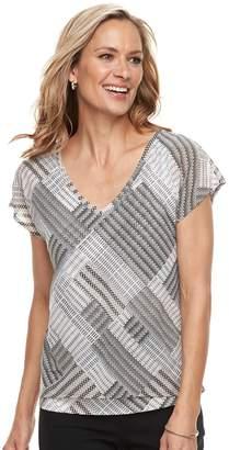 Dana Buchman Women's Print Layered Hem Top