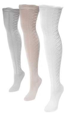 Muk Luks Women's Lace Texture Over the Knee Socks 7 x 3.5