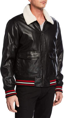 Modern American Designer Men's Faux-Leather Bomber Jacket