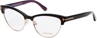 Tom Ford TF5365 Black Semi-Rimless Cat Eye Optical Frames