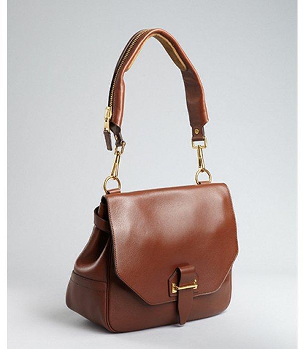 Tom Ford tan leather zipper detail shoulder bag