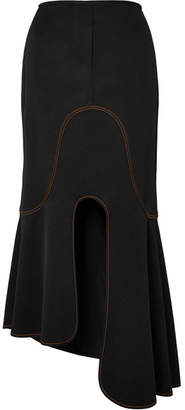 Orbit Asymmetric Crepe Midi Skirt - Black