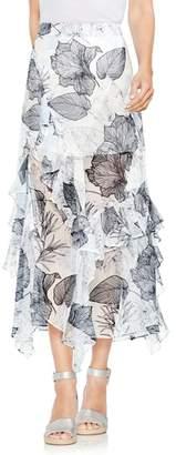 Vince Camuto Ruffle Island Floral Midi Skirt