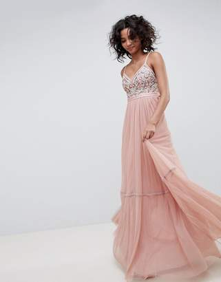 Needle & Thread embroidered tulle maxi dress with cami straps in vintage rose