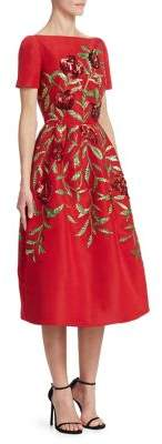Oscar de la Renta Embellished Pomegranate A-Line Dress