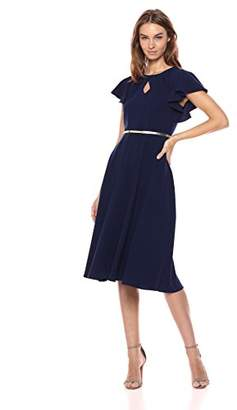 Gabby Skye Women's Short Flutter Sleeve Key Hole Belted Dress
