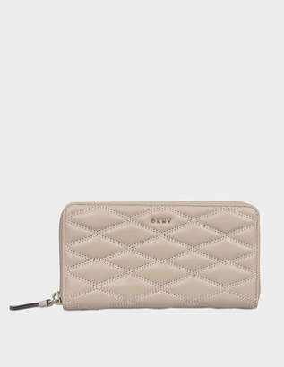 DKNY Diamond Quilt large zip around wallet