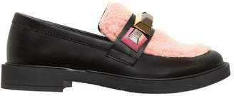 Faux Sheraling & Faux Leather Loafers
