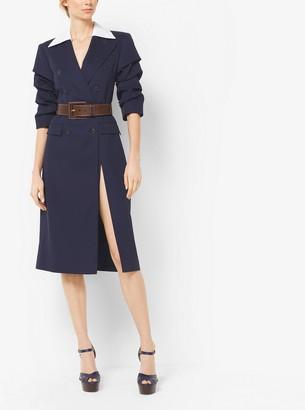 Michael Kors Wool and Silk-Gabardine Slashed Coat Dress