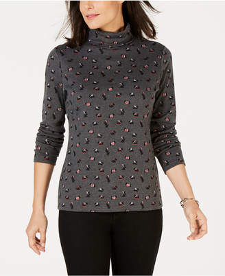 Karen Scott Scottie-Dog Print Turtleneck Top