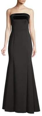 Eliza J Velvet-Trim Strapless Flare Gown
