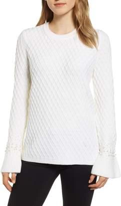 Karl Lagerfeld Paris LAGERFIELD PARIS Embellished Sleeve Sweater