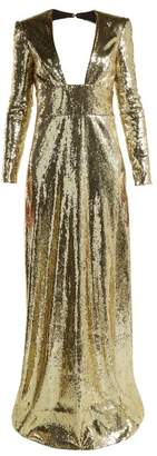 Dundas - Cut Out Back Sequined Gown - Womens - Gold