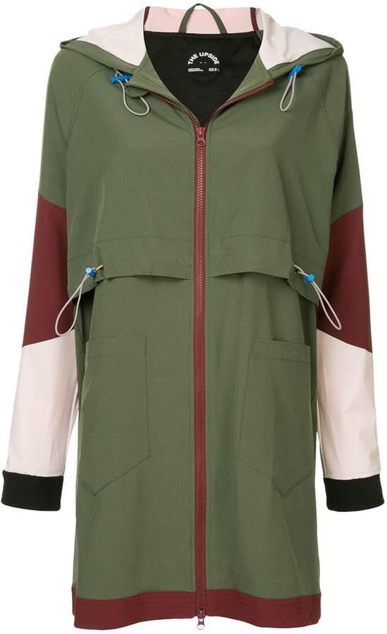 a hooded zipped jacket