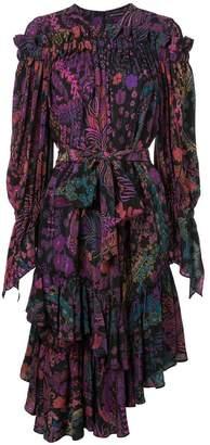 Josie Natori printed ruffle dress
