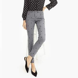 """9"""" High-Rise Toothpick Jean In Charcoal Polka Dot"""
