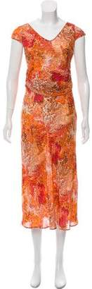 Celine Printed Silk Midi Dress