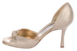 Manolo Blahnik Canvas d'Orsay Pumps
