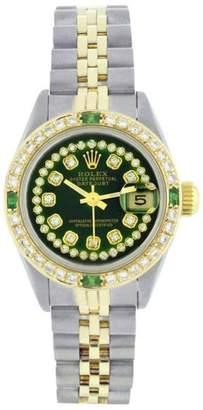 Rolex Datejust 69173 Stainless Steel/18K Yellow Gold Green Vignette String Diamond/Emerald Watch